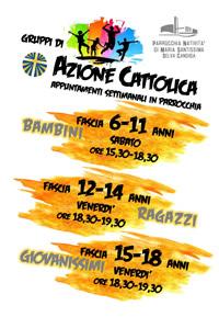 Appuntamenti settimanali in parrocchia- Azione Cattolica